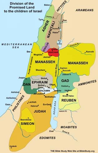 Map of the division of land between the tribes of Israel